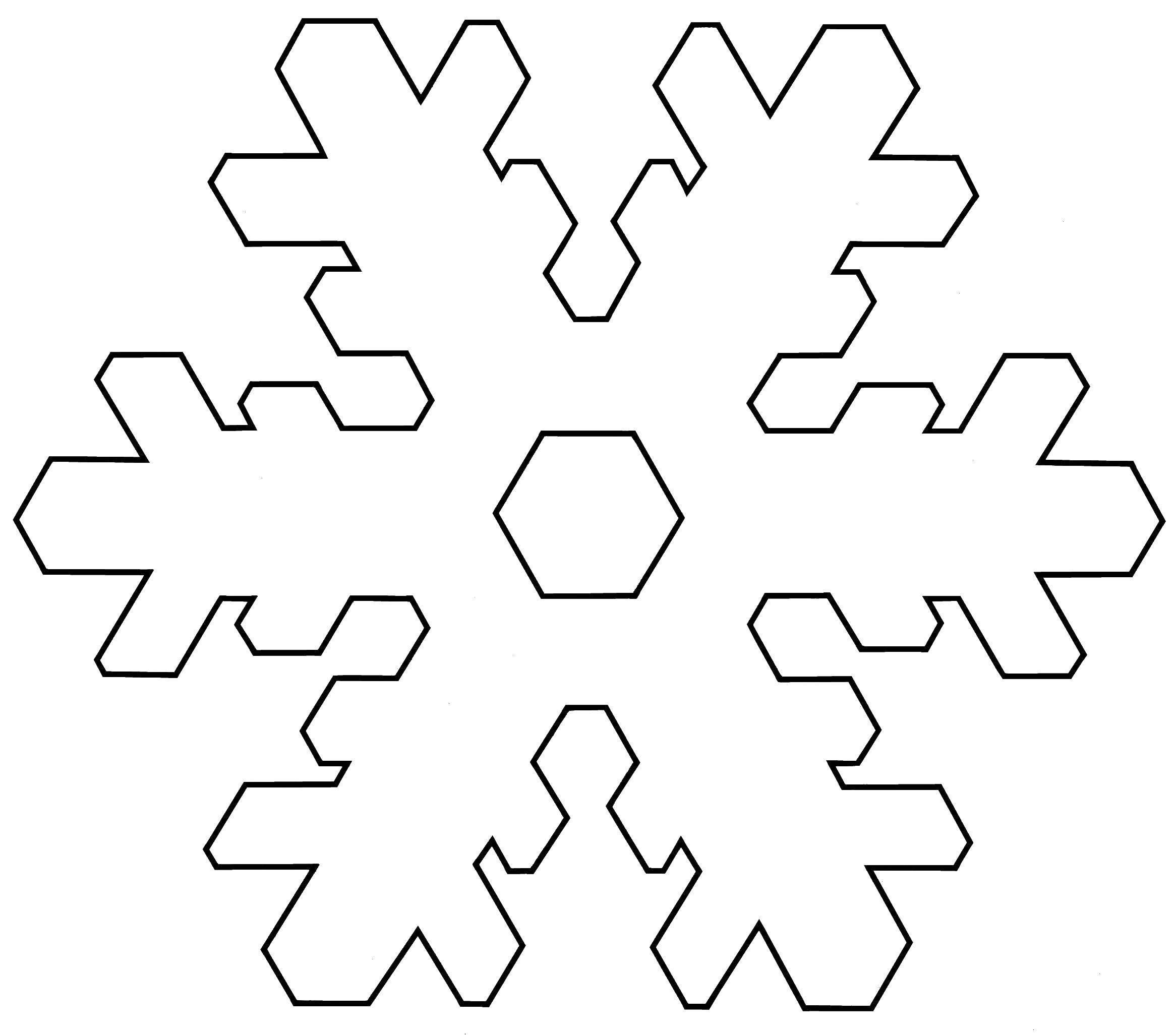 Раскраска Контур снежинки Скачать ,снежинка для вырезания,.  Распечатать