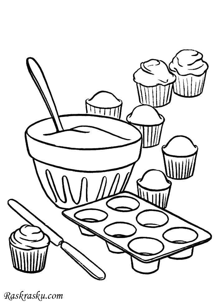 Раскраски еда, Раскраска Кекс с клубникой Еда.