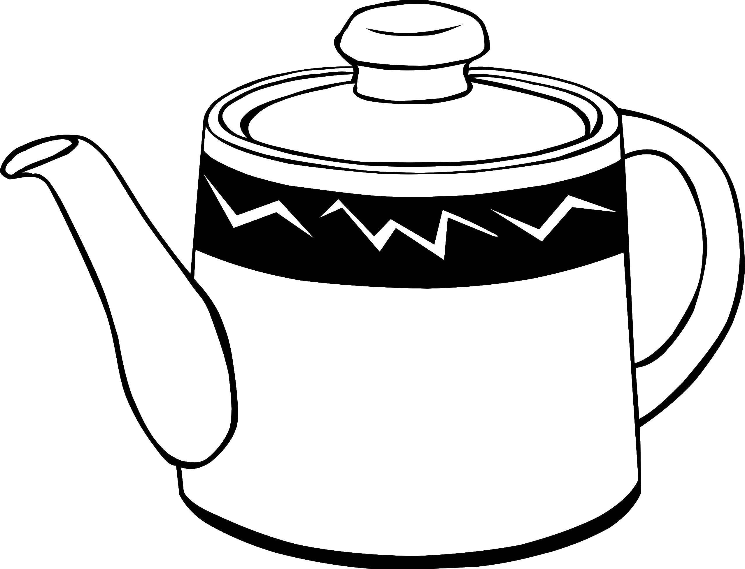 Чайник раскраска распечатать