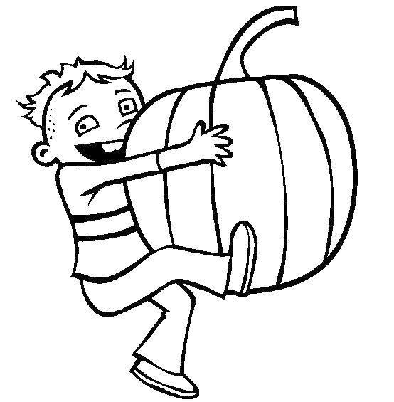Раскраски осень, Раскраска Дети собирают листья осень.