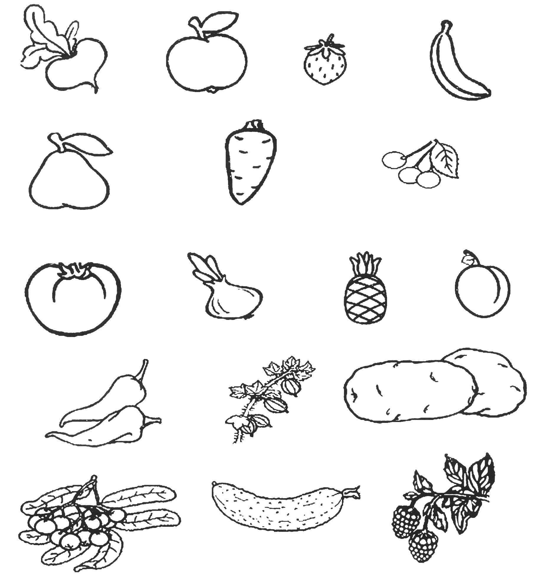 картинки раскраски с заданиями фрукты как