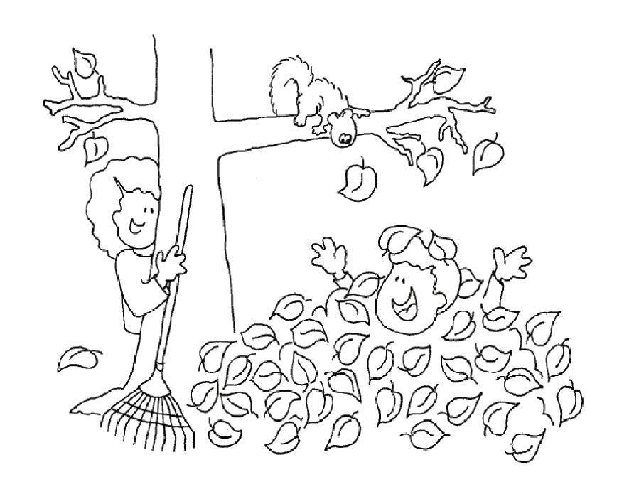 Раскраски листопад, Раскраска Осенний листопад Осень.