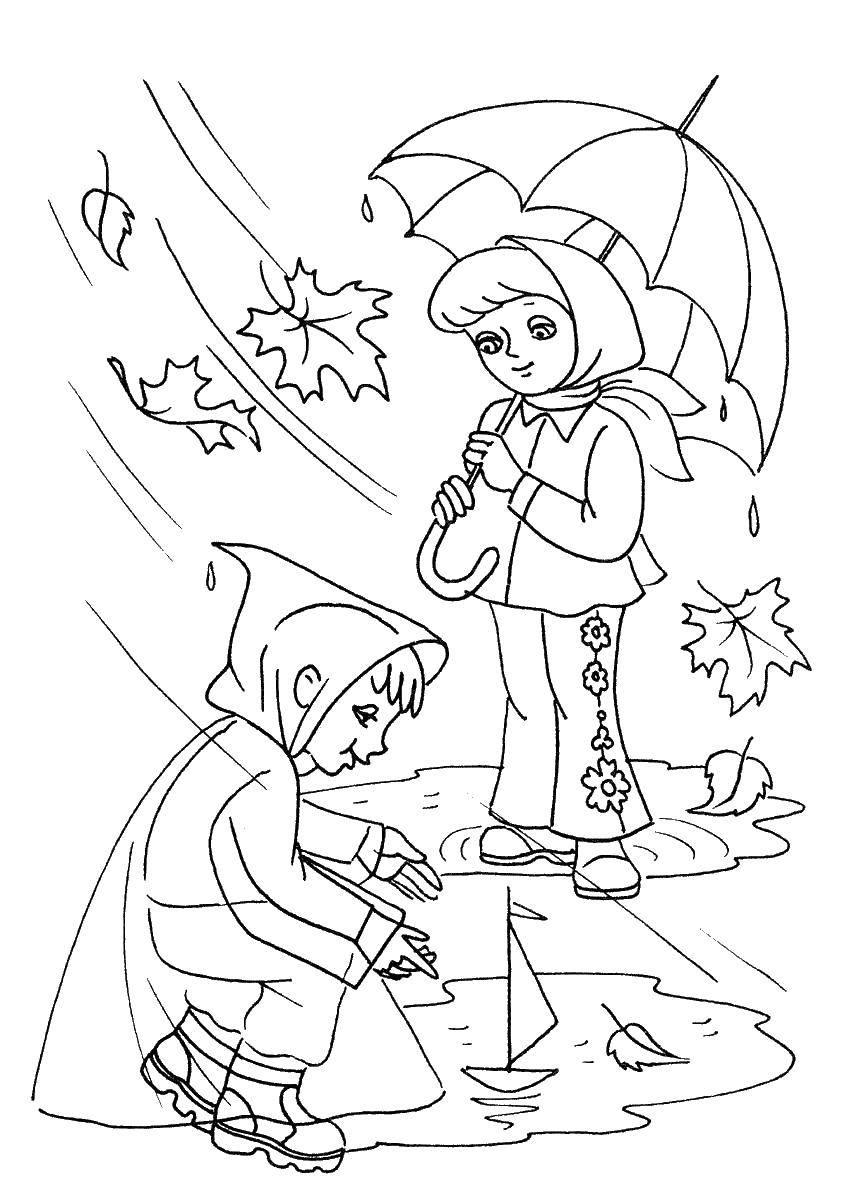 Coloring Children playing in the rain Download children, rain.  Print ,autumn,