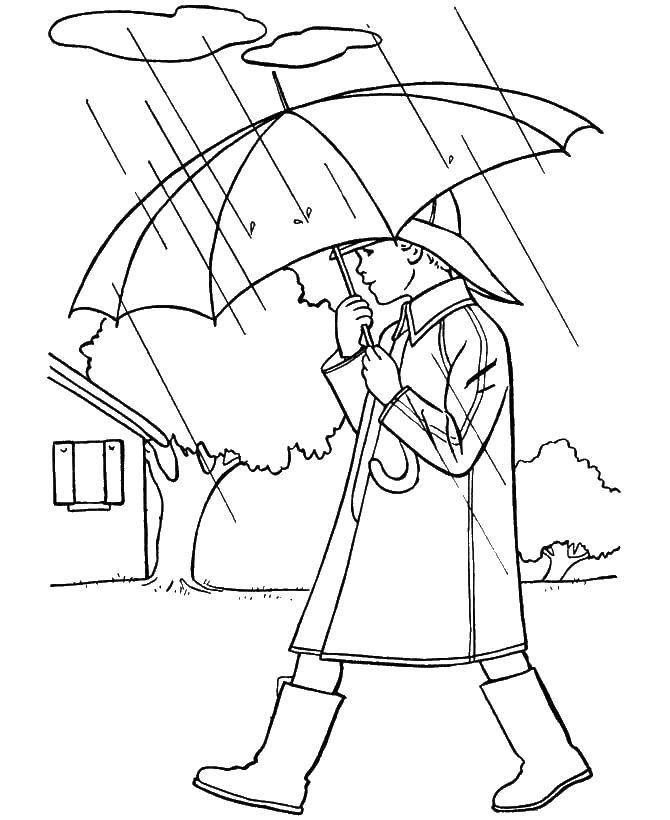 Раскраски человек, Раскраска Человек идет под дождем осень.