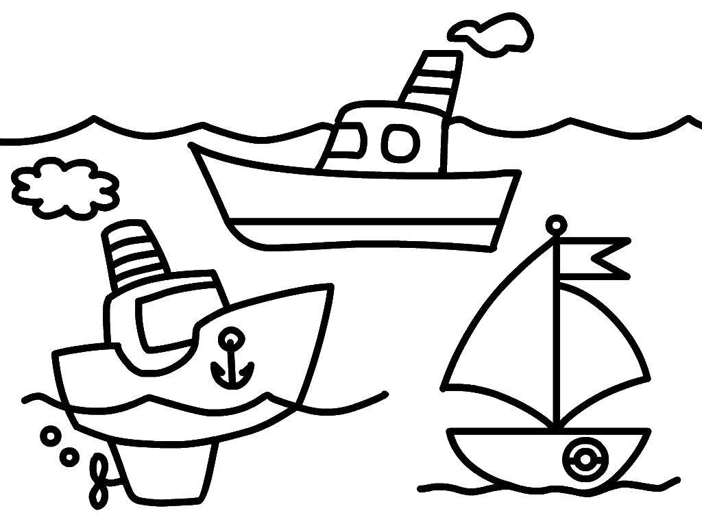 Раскраска картинки кораблик