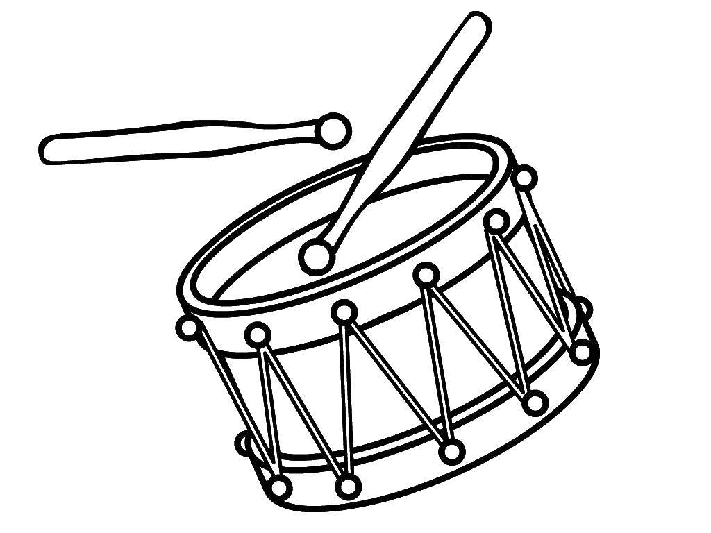 Coloring The drum and drum sticks Download Instrument, drum.  Print ,Musical instrument,