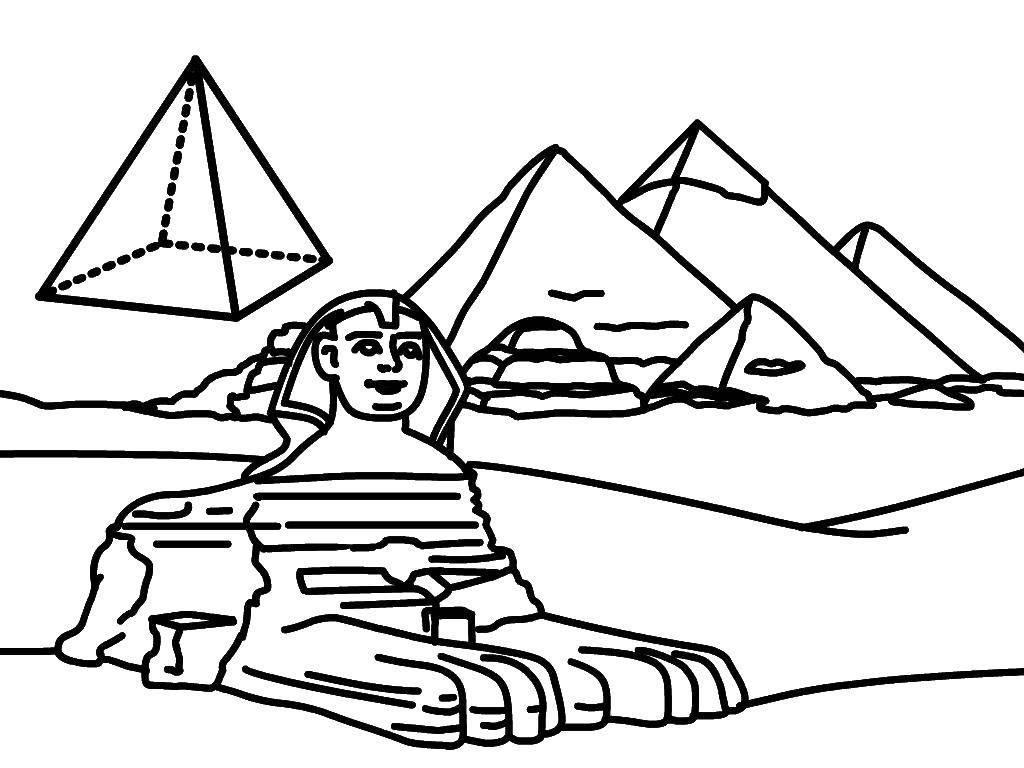 Раскраска египетские пирамиды для детей