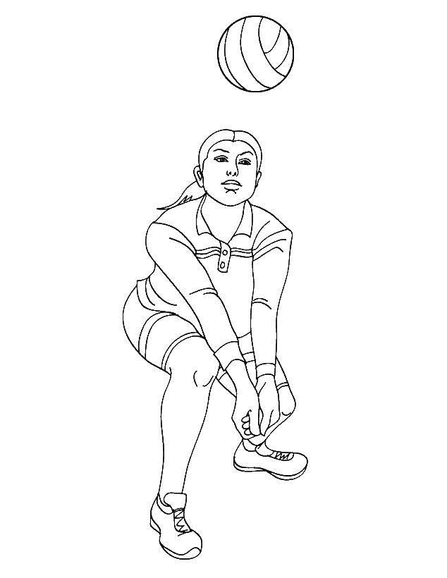 Раскраски Раскраска Девочка подает мяч волейбол, скачать ...