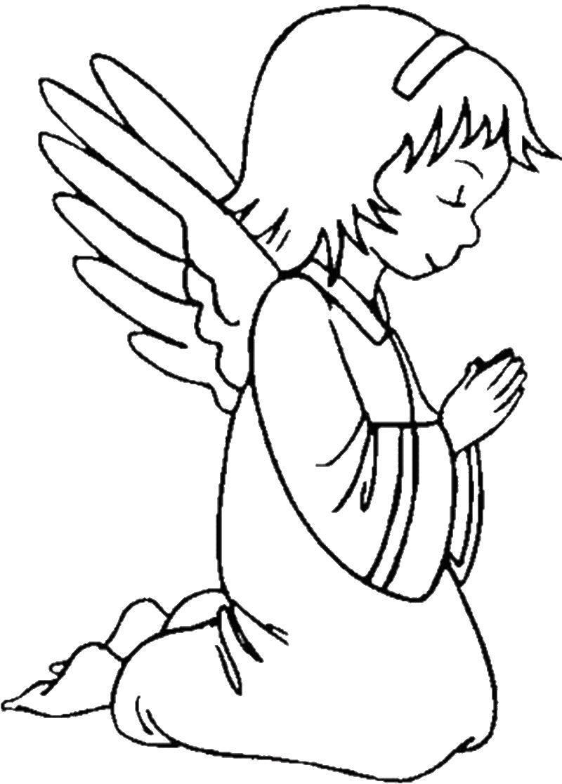 Картинки ангела с крыльями раскраски