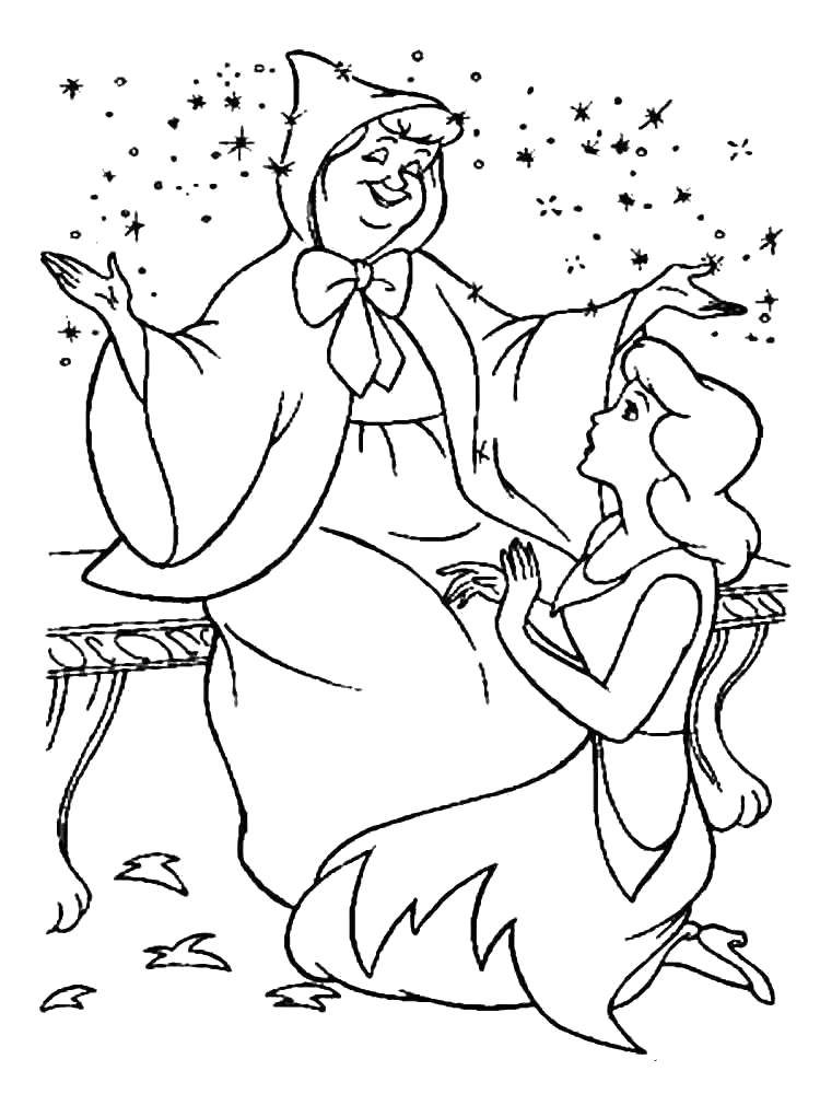Cinderella Says Thank You To Fairy Godmother coloring page | Free ... | 1000x750