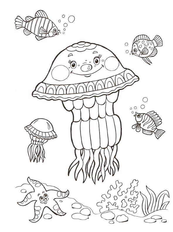 раскраска медузы под водой модель