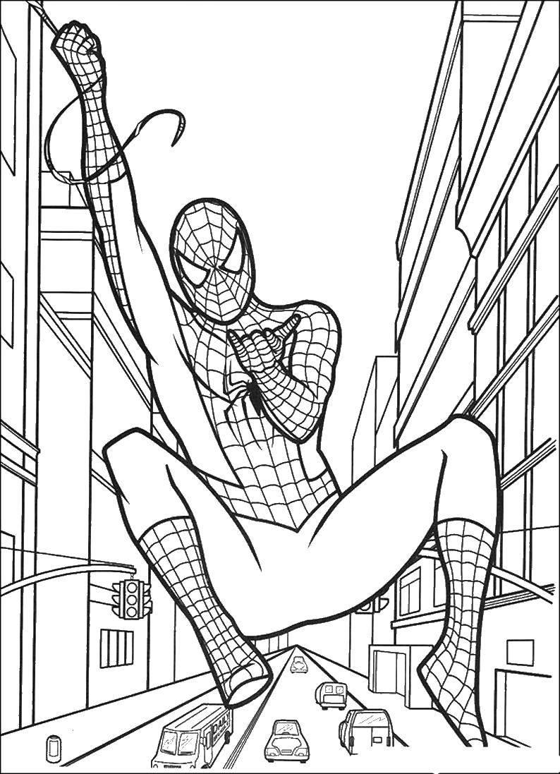 Раскраска человек паук Скачать Комиксы, Спайдермэн, Человек Паук.  Распечатать