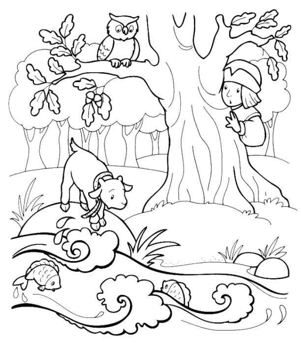 Coloring sheet sister Alyonushka and brother Ivanushka Download .  Print