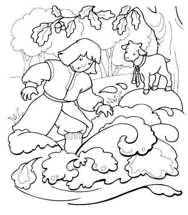 Coloring sheet sister Alyonushka and brother Ivanushka Download .  Print