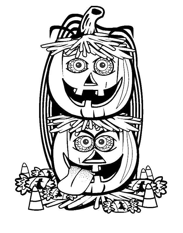 Coloring sheet pumpkin on Halloween Download .  Print