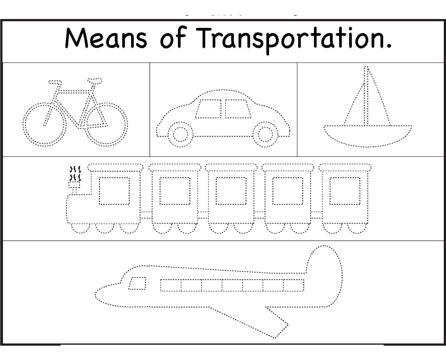 Раскраска Транспорт на английском Скачать Транспорт, поезд, рельсы.  Распечатать
