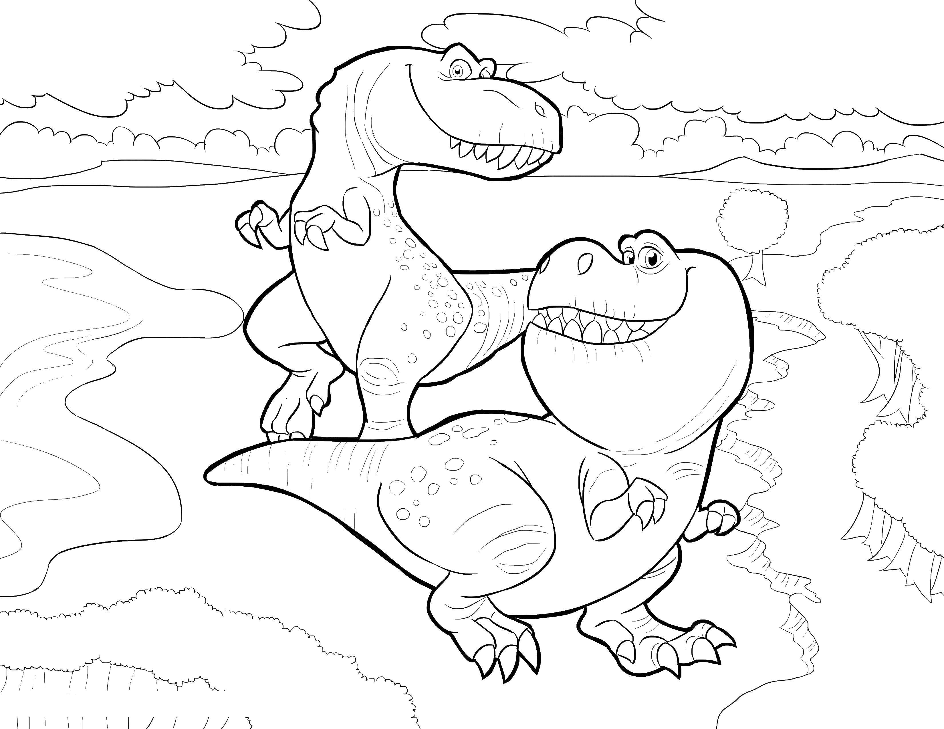 Coloring Funny friends Dinos. Category dinosaur. Tags:  Dinosaurs.