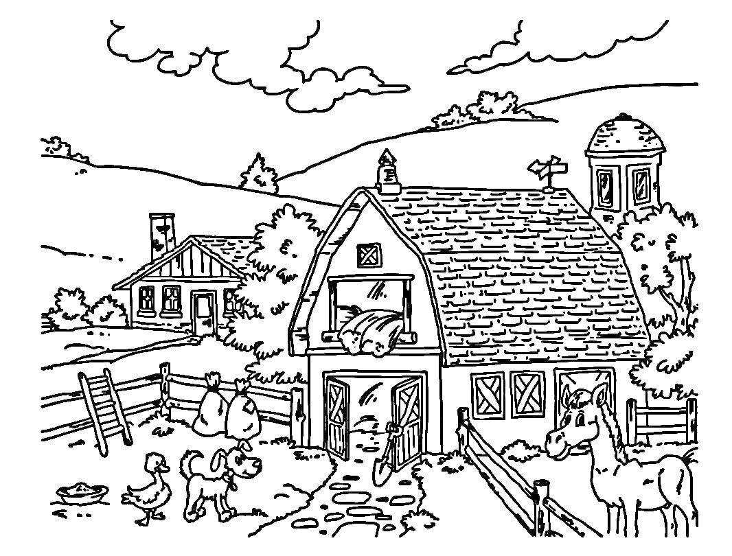 картинки для раскрашивания лето в деревне время