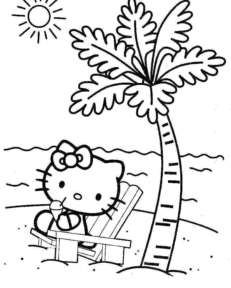 Coloring Hello kitty on the beach Download ,Hello Kitty,.  Print