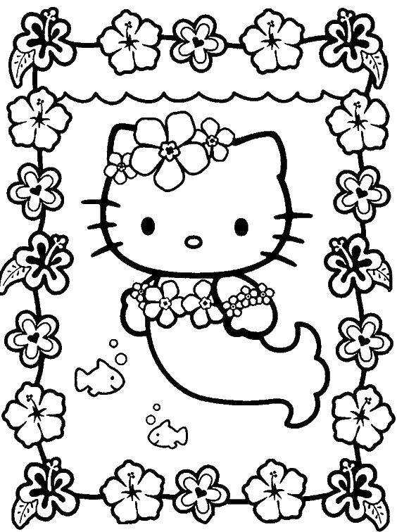 Coloring Hello kitty dressed as a mermaid Download ,Hello kitty, little mermaid,.  Print
