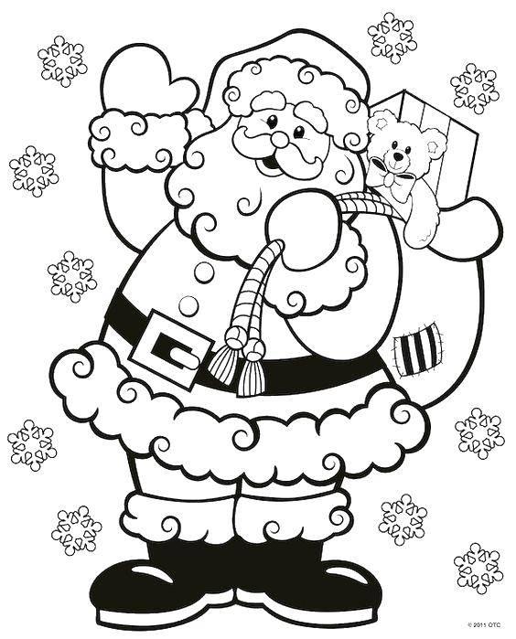 Coloring Santa with bag of gifts Download New Year, Santa Claus, Santa Claus, gifts,.  Print