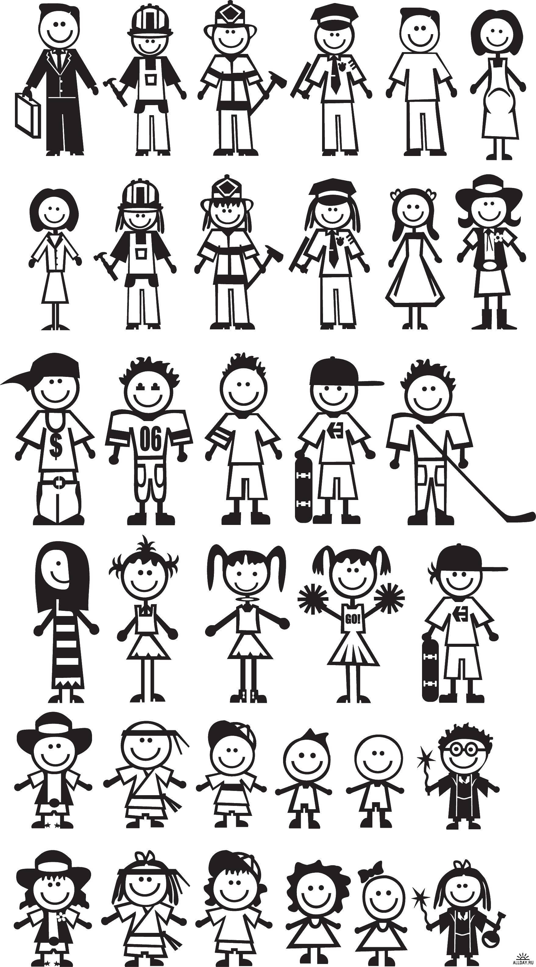 Раскраска человечки Скачать ,люди, дети,.  Распечатать