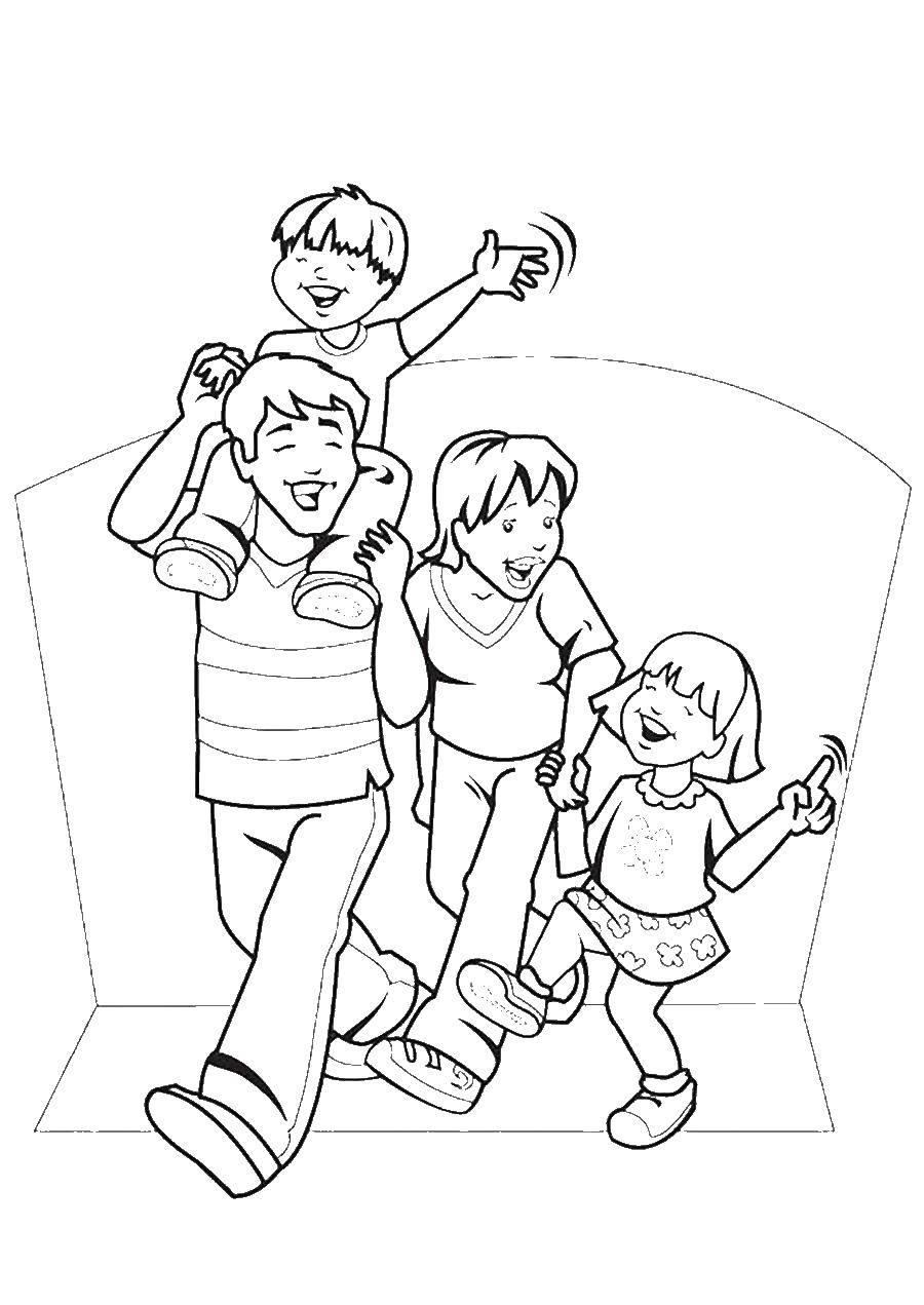 Раскраски малыш, Раскраска Мама папа и малыш семья дедушка ...