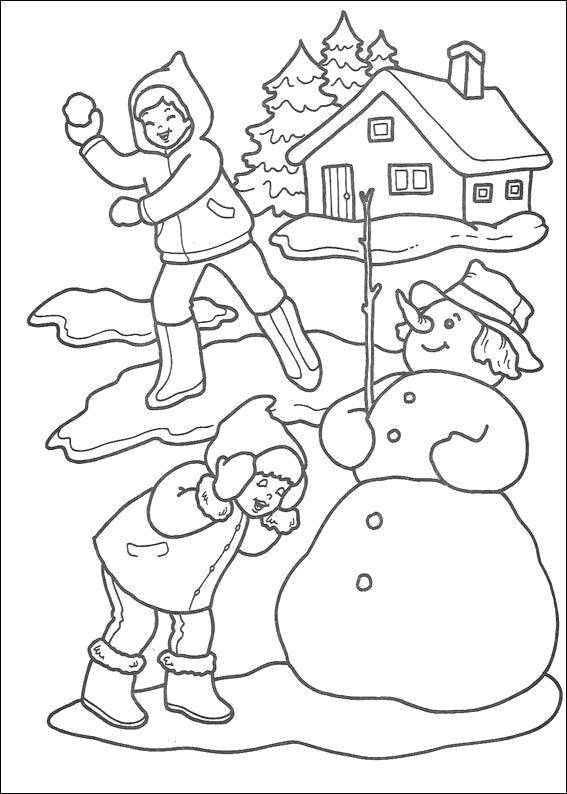 Coloring Winter games Download Winter, children, snow, fun.  Print ,winter,