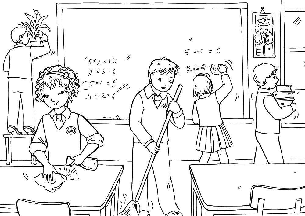 Coloring Children doing cleaning in the school Download children, school, cleaning.  Print ,school,