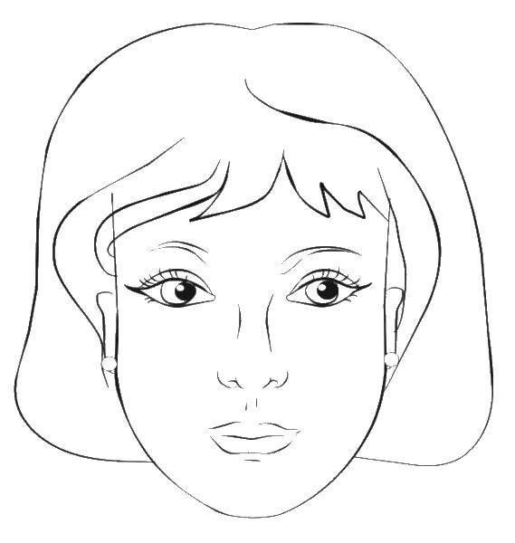 Раскраска мама портрет Скачать ,Лицо, девушка, мама,.  Распечатать