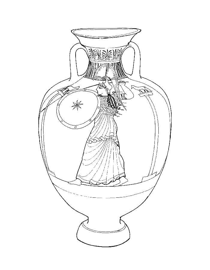 Coloring Greek vase Download vase, flowers,.  Print