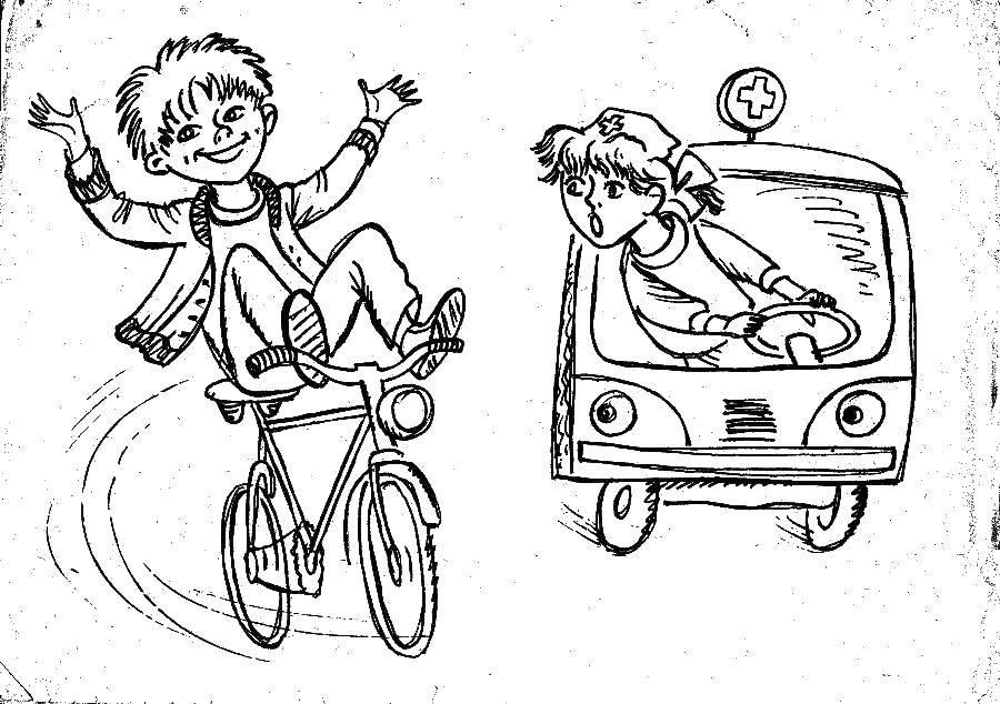 Картинки дорожного движения для срисовки велосипед
