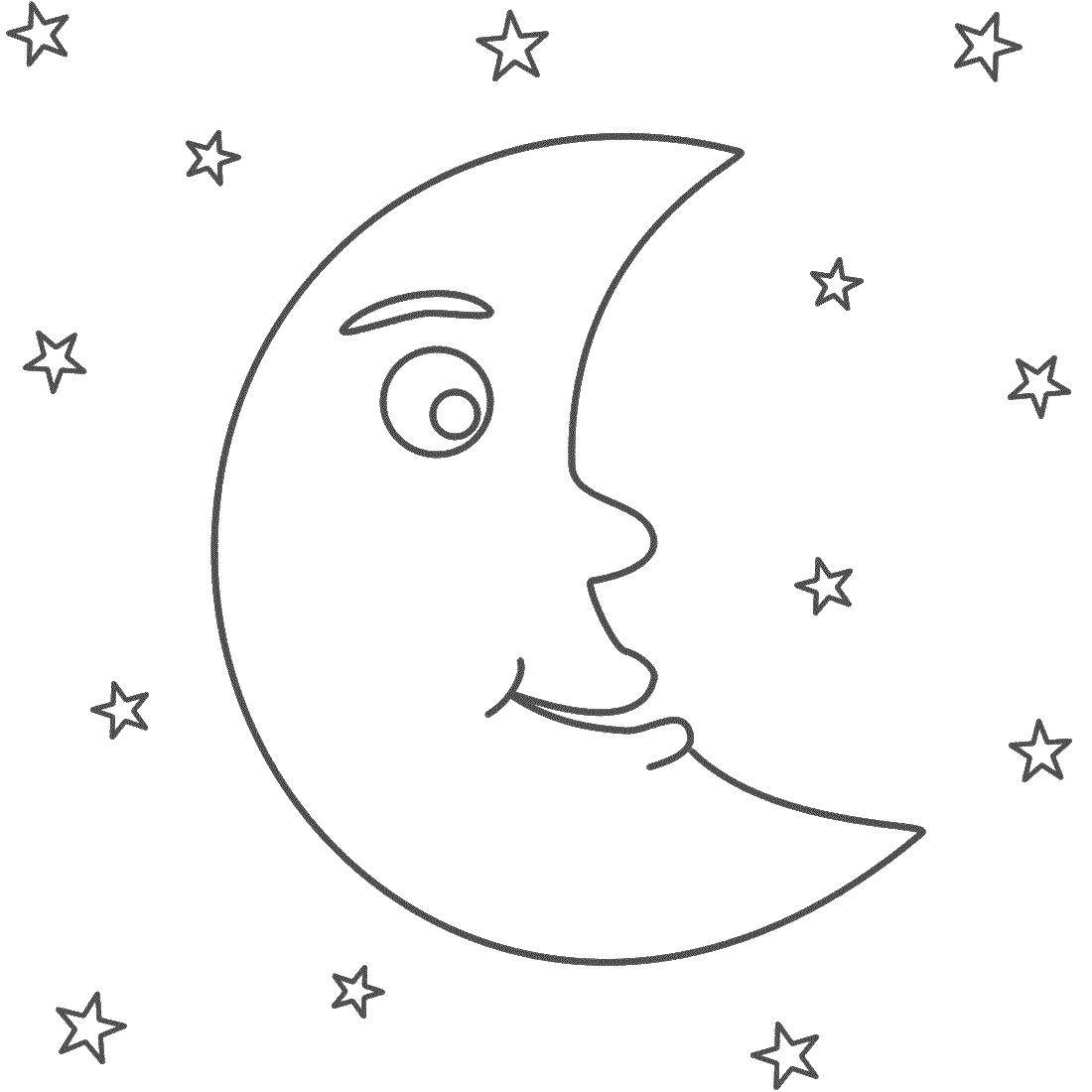 Coloring A month among the stars Download stars, month.  Print ,moon,