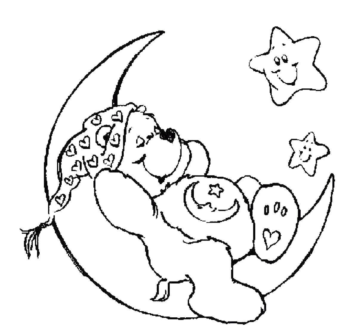 Раскраска луна Скачать ,медведь, луна,.  Распечатать