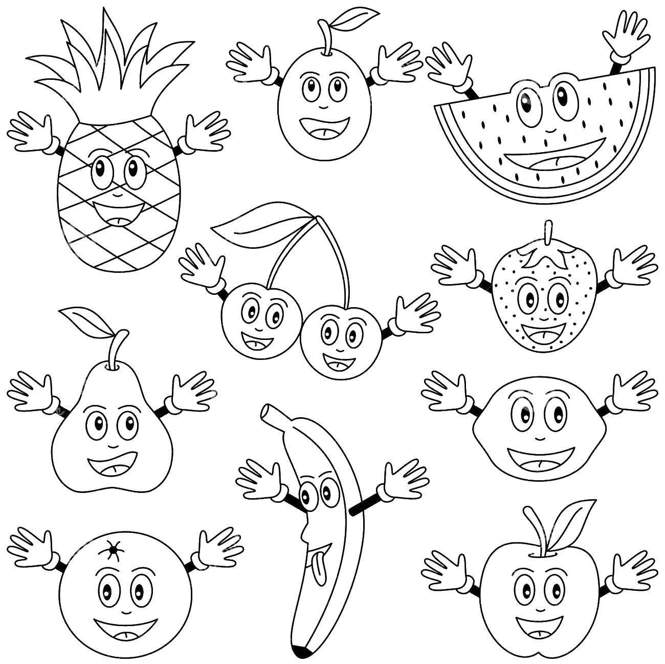 Картинки живые фрукты раскраски