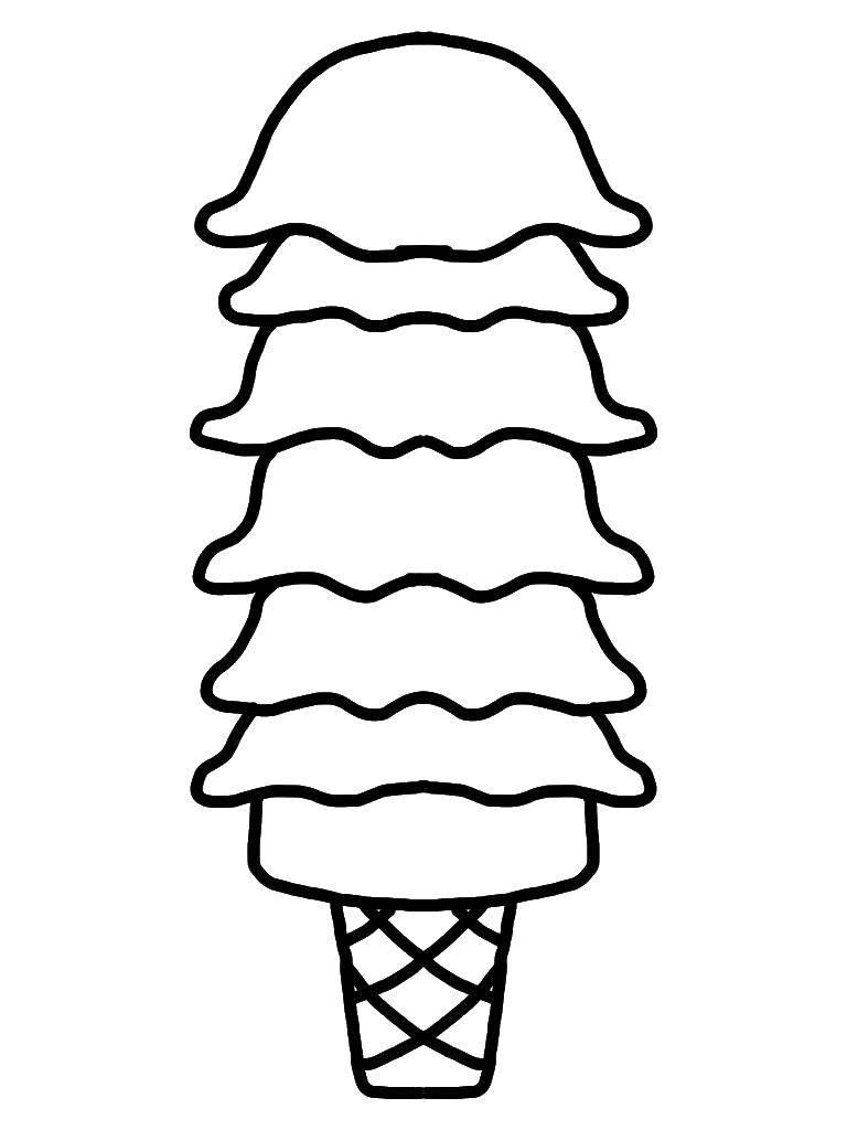 Раскраски мороженое Раскраска Чаша мороженого мороженое