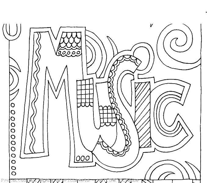 Coloring Inscription music Download lettering, music.  Print ,Music,
