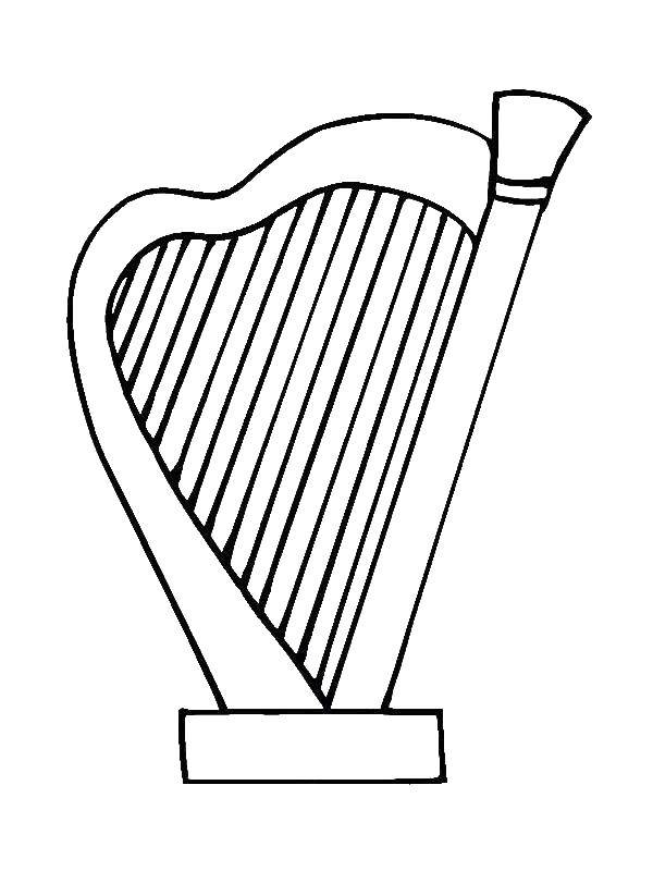 Coloring Harp Download Music, instrument, musician, note,.  Print