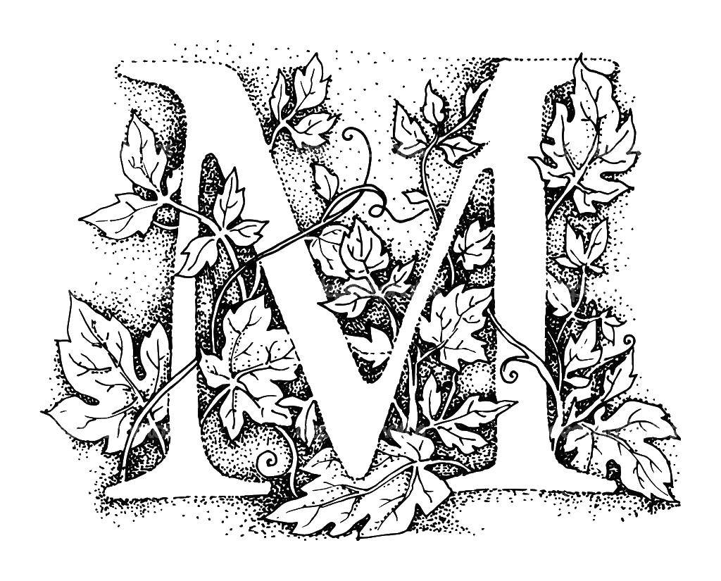 Coloring The letter m  Download The alphabet, letters, words,.  Print