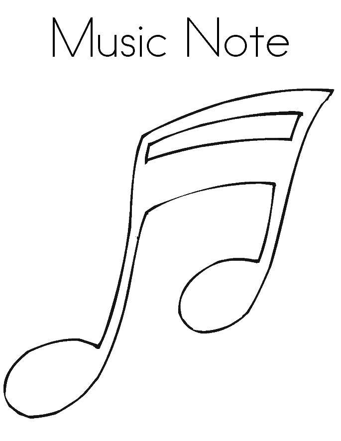Coloring Musical note Download English.  Print ,English,