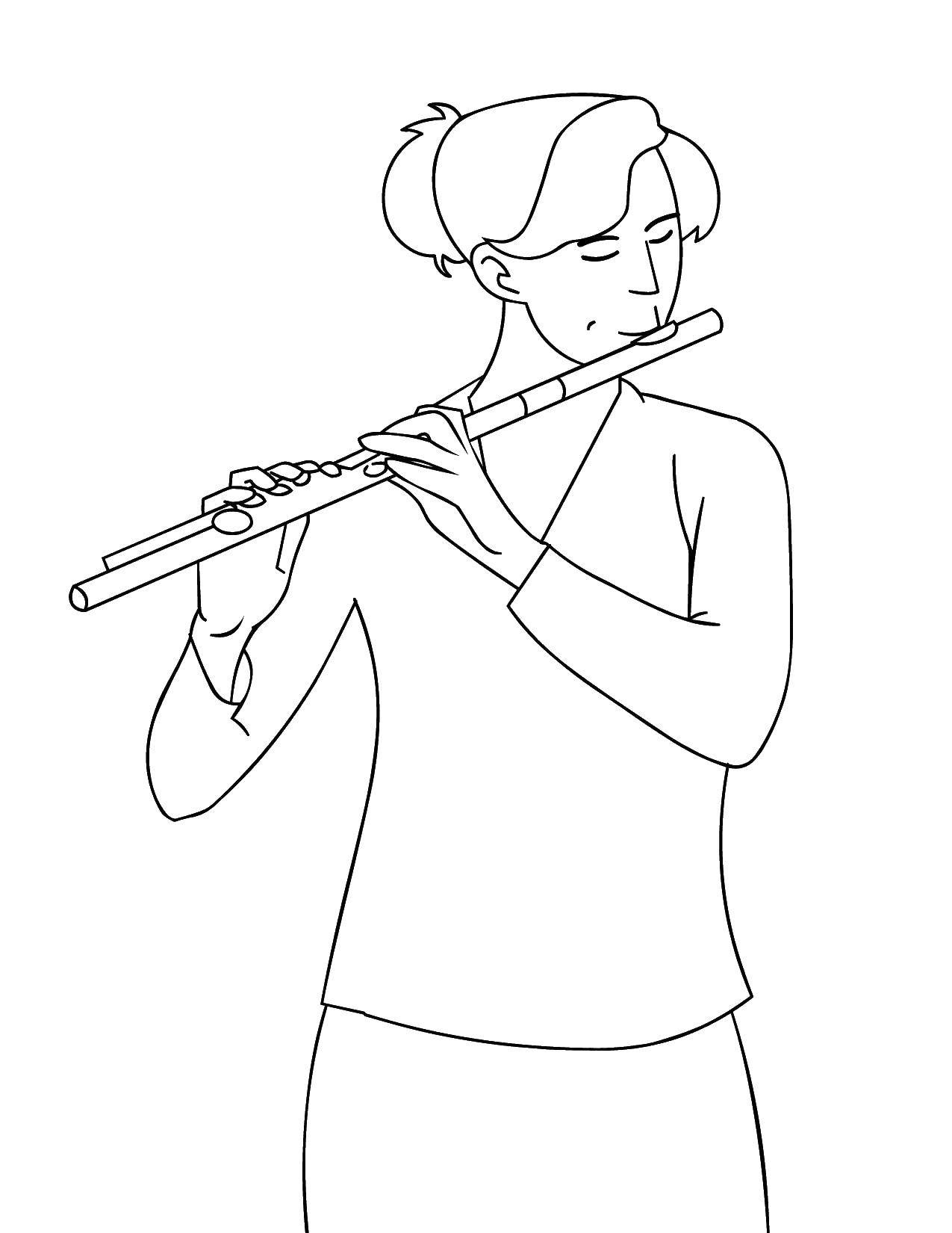 Coloring Girl playing the flute Download Music, instrument, musician, note,.  Print