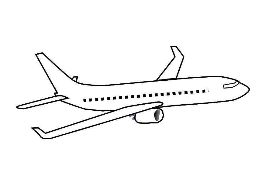 Раскраска Летящий самолёт Скачать ,Самолёт,.  Распечатать