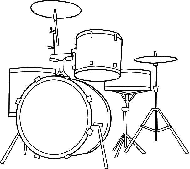 Coloring Drum set. Category Music. Tags:  Music, instrument, musician, note.
