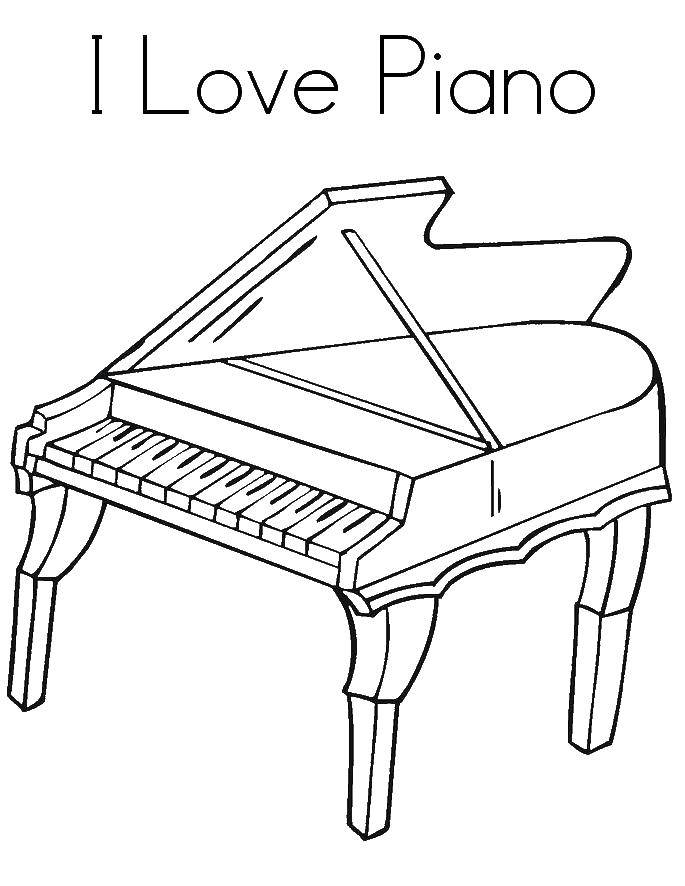 Coloring I love piano. Category Music. Tags:  Music, instrument, musician, note.