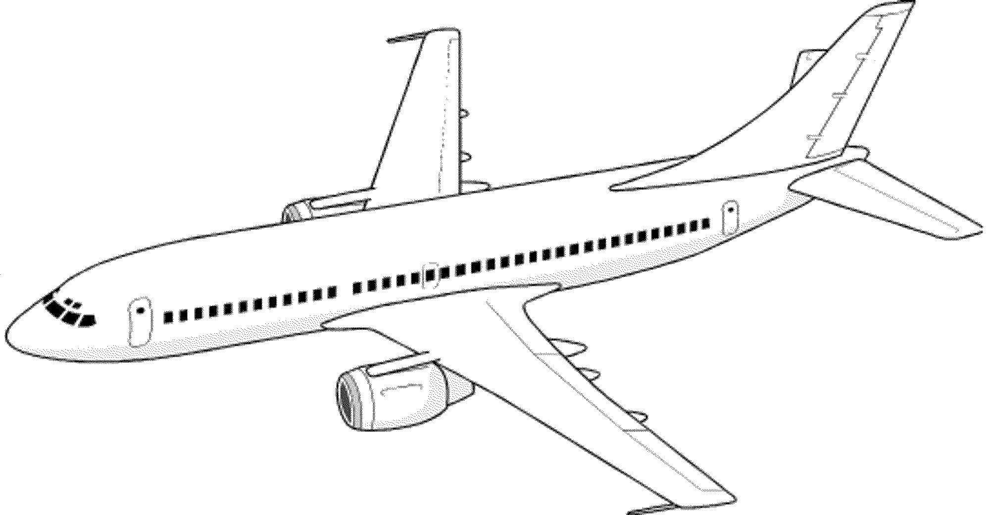 Раскраска Пассажирский самолет Скачать ,самолет,.  Распечатать