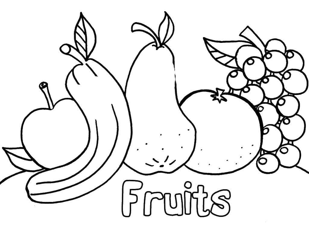 Coloring pages fruit in English Скачать .  Распечатать