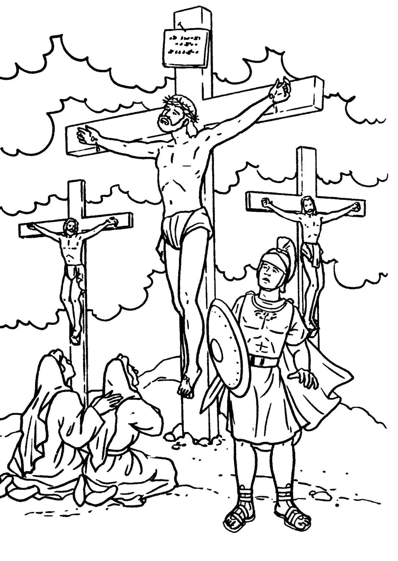 Раскраска раскраски крест Скачать ,иисус, крест,.  Распечатать