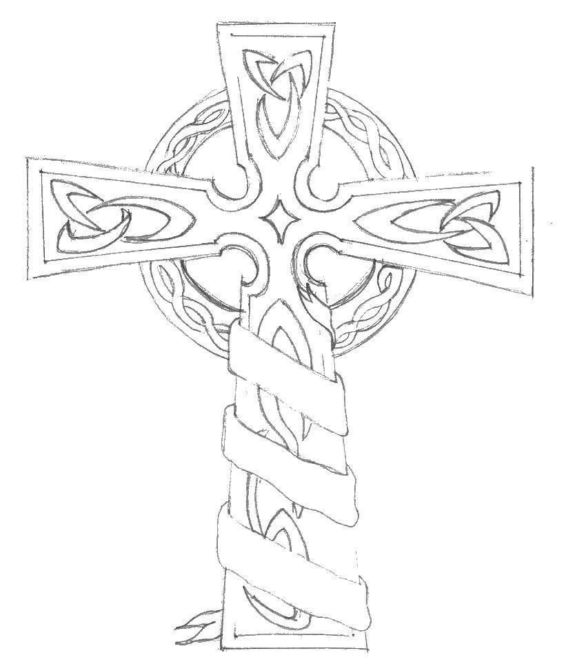 Картинка православного креста карандашом