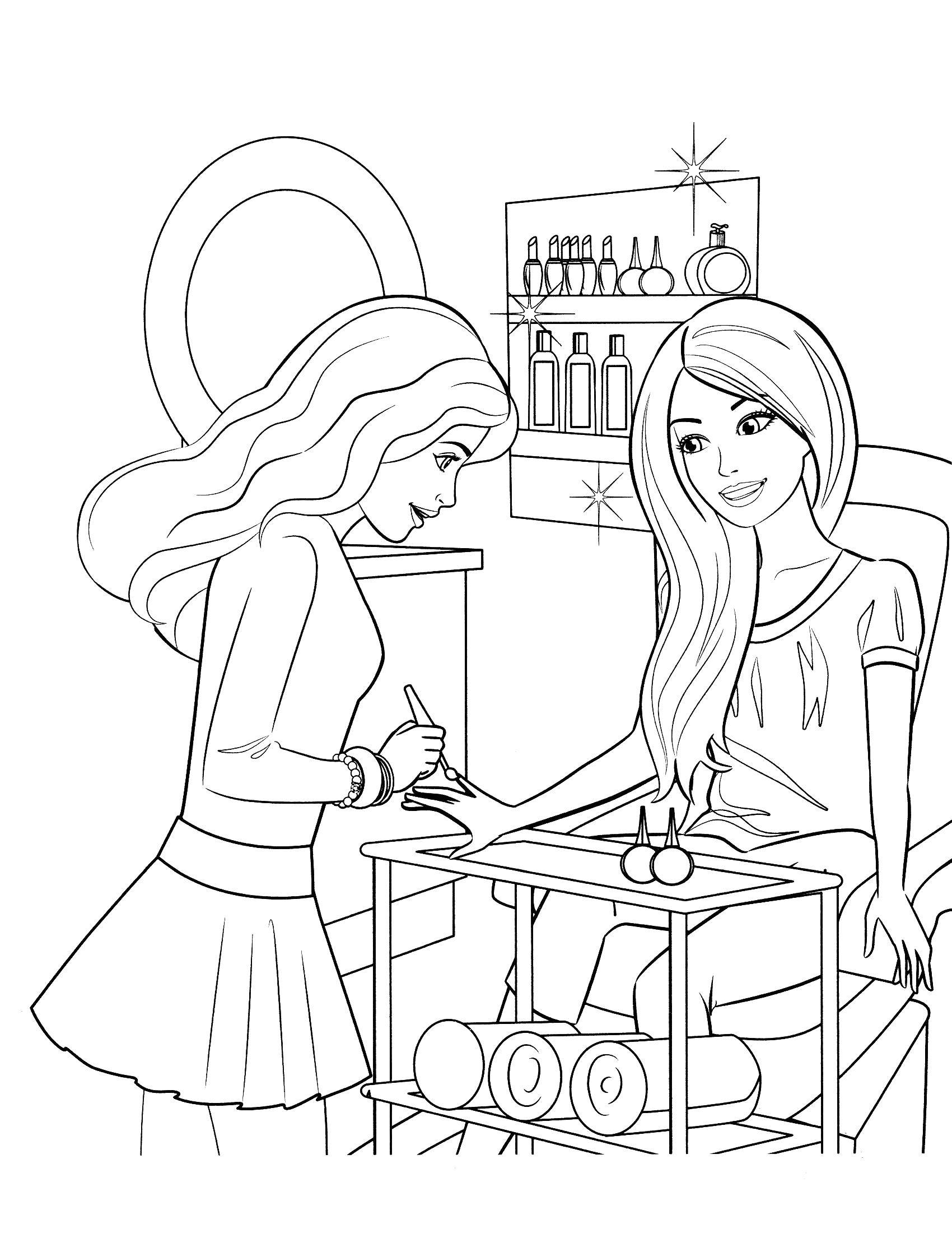 Coloring Barbie in a beauty salon Download Barbie , fashion, beauty,.  Print