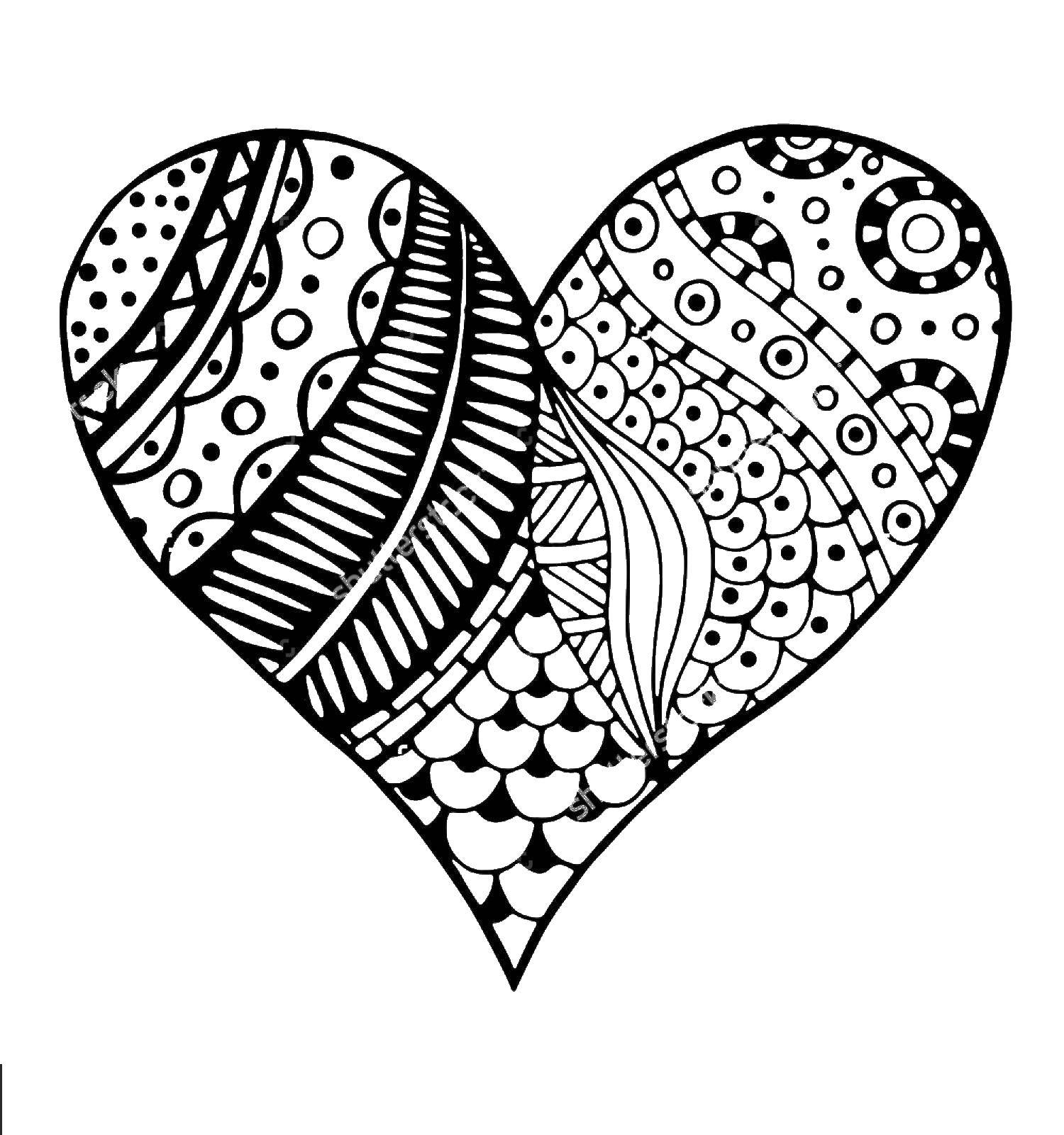 Название: Раскраска Красивое сердце с узорами. Категория: Я тебя люблю. Теги: сердце.